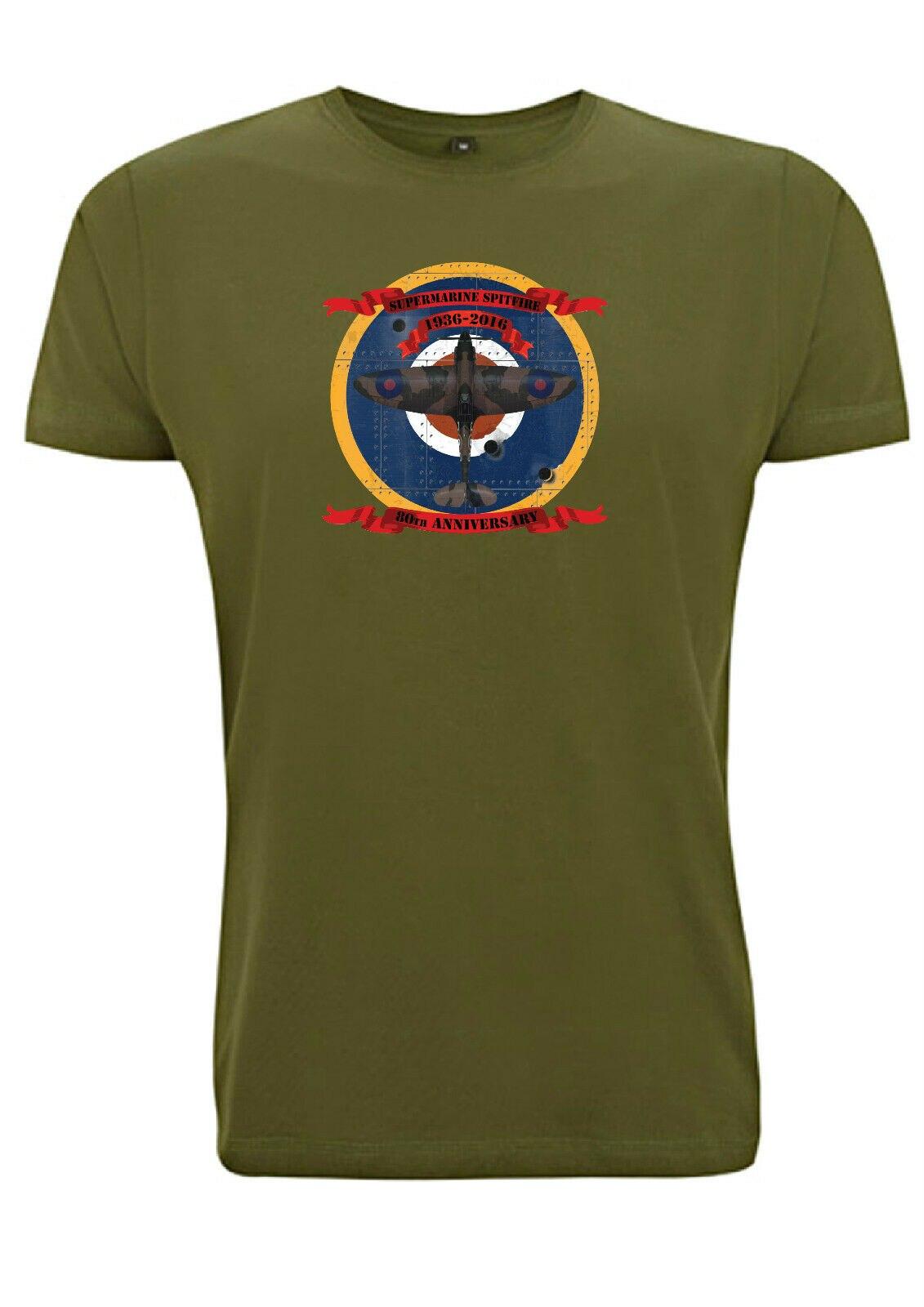 Supermarine Spitfire 80th aniversário alvo Camiseta WW2 RAF Pais MOD Exército sas