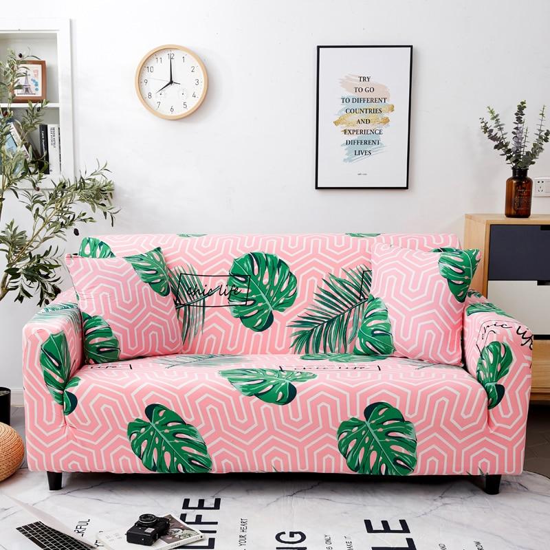 الوردي مخطط الأخضر يترك المطبوعة غطاء أريكة لغرفة المعيشة ، الأثاث واقية Silpcover ، 1 2 3 4 مقاعد ، الحديثة لطيف نمط