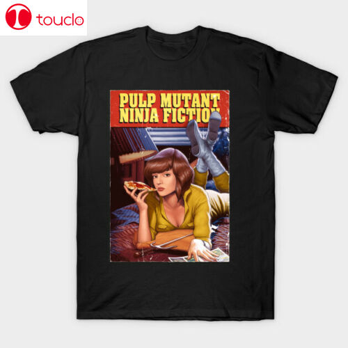 Camiseta negra de Pulp Fiction x-mia, tortugas Ninja, S-6Xl de abril