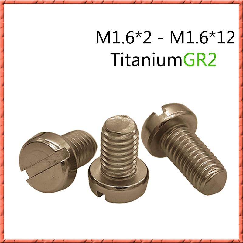 50 قطعة التيتانيوم النقي M1.6 * L GR2 مستديرة مسمار لولبي الرأس كأس أسطواني رئيس مشقوق المسمار الصغيرة مكافحة التآكل مانع االصدأ M1.6 * 2/2. 5/3/-14