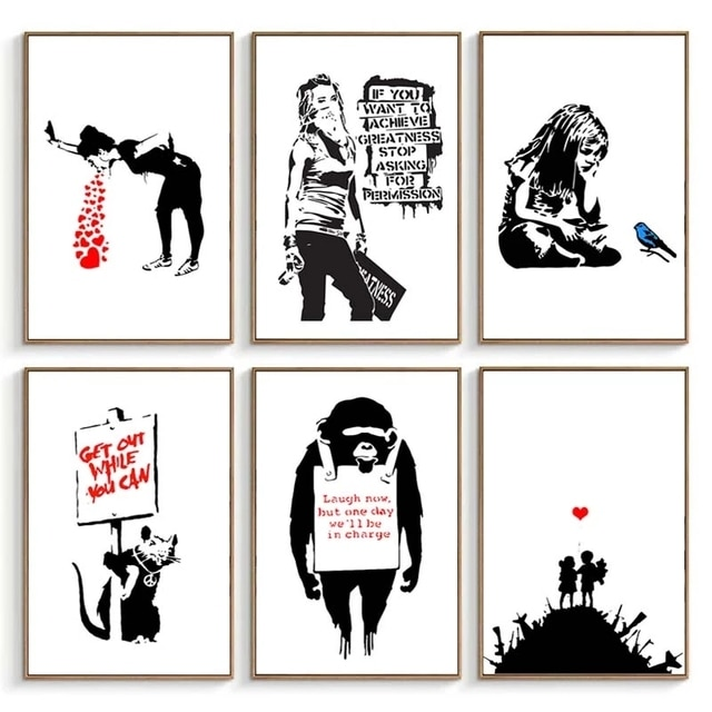 Banksy Graffiti Artwork Canvas Painting Girl With Red Balloon Poster Black White Abstract Wall Pictures for Nordic Home Decor 10