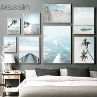 ocean landscape poster beach palm tree wall art painting sea canvas print nordic posters and prints living room decoration