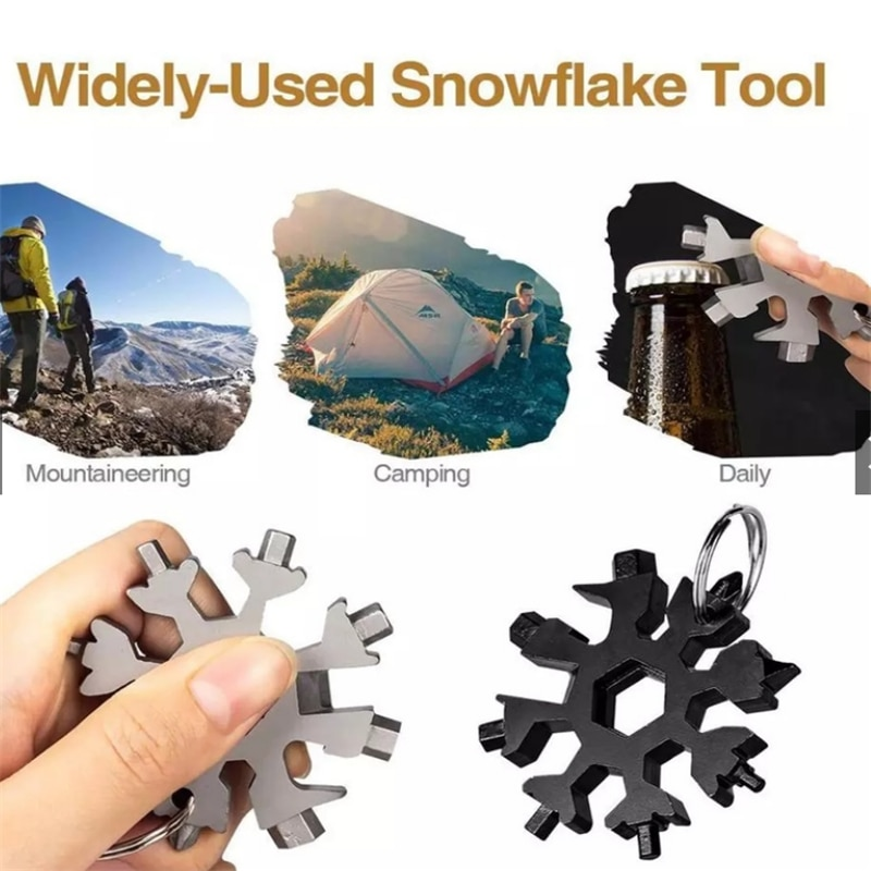 18-In-1 Multi-functional Snowflake Hand Tools Card Combination Compact Handy Screwdriver Craft Tool Portable Outdoor Products