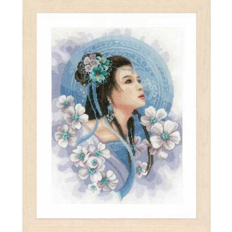 Colección de oro, Kit de punto de cruz con cuentas, chica asiática de princesa Azul, Mujer, chica, chica con flores lan 0169168