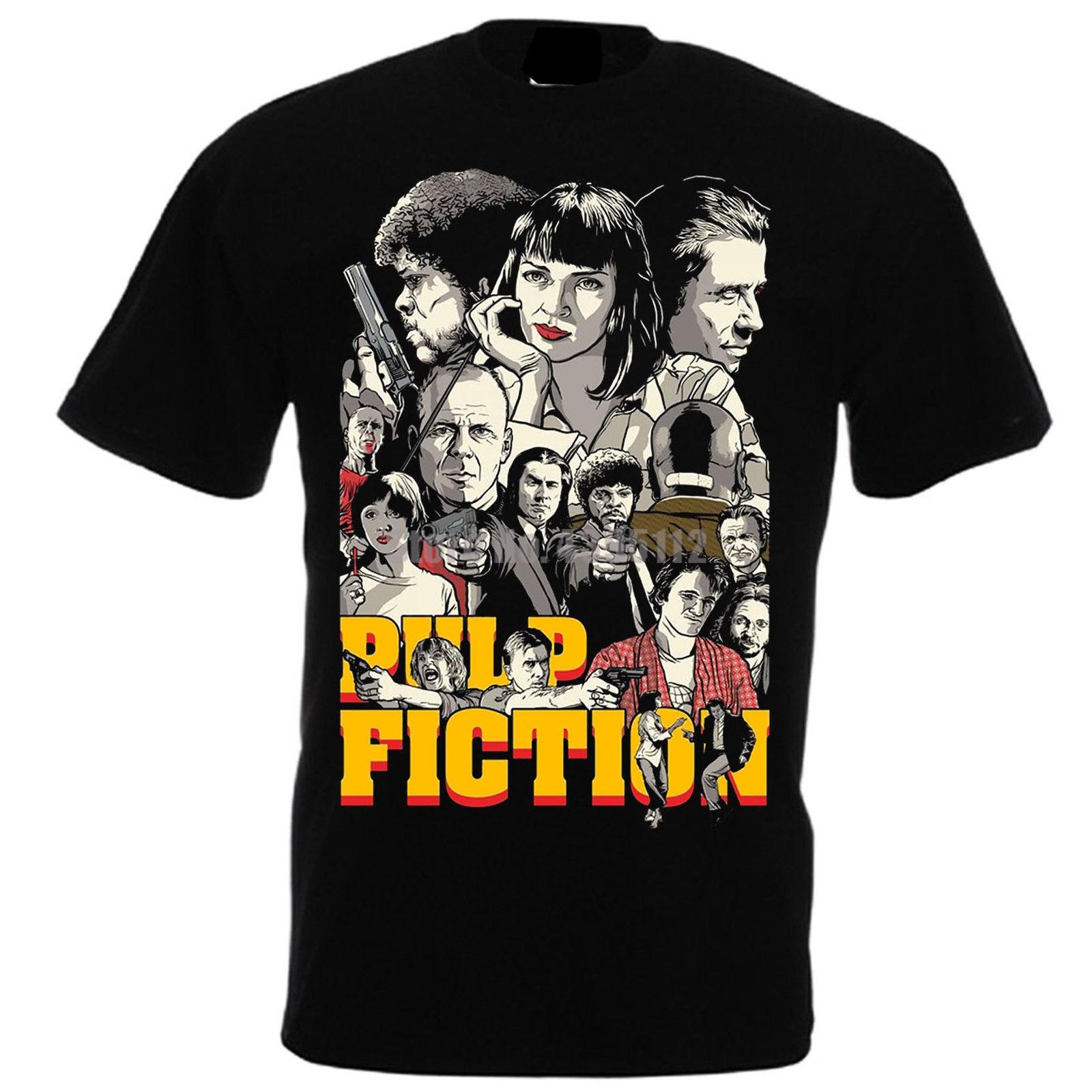 Quentin Tarantino '94 John Travolta Samuel L Jackson Femmes футболка Японская уличная одежда футболки тренажерный зал Футболка черный и белый