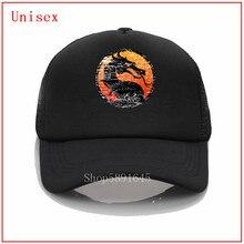 Design Distressed Mortal Kombat Logo w Grenze hut sonne schild visier kühlen hut fedora baseball kappe männer pferdeschwanz schönen baseball kappe