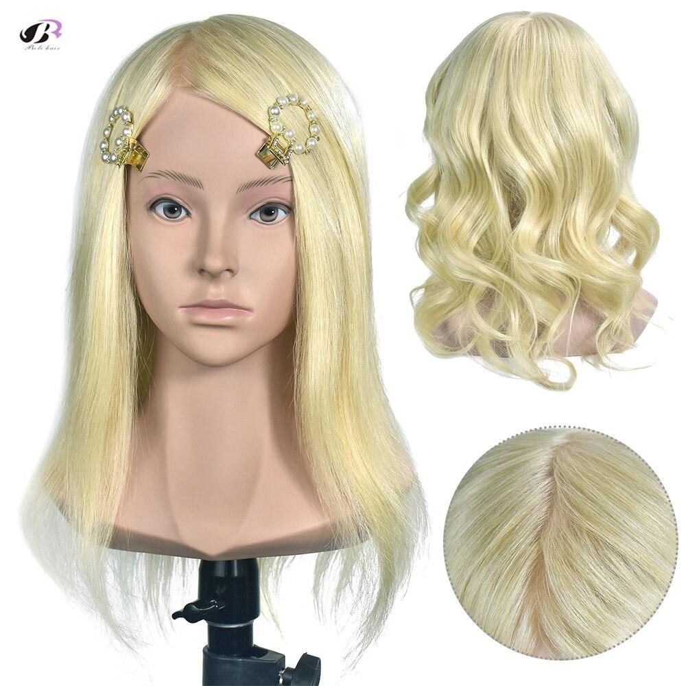 Boli cabelo 35cm 100% cabeça de treinamento profissional do cabelo humano para a cabeça do manequim do salão de beleza 14 polegada ouro o cabelo real pode ser onda