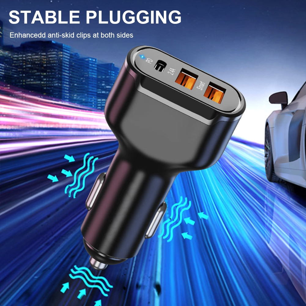 Dual USB 12V 24V Car Fast Charger PD Type-C 30W Fast Charging Universal Car USB Charger Lighter Adapter for iPhone Huawei Xiaomi