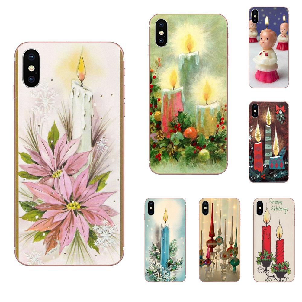 Vintage Christmas Candle Soft TPU Capa Cover Case For Samsung Galaxy Note 5 8 9 S3 S4 S5 S6 S7 S8 S9 S10 5G mini Edge Plus Lite