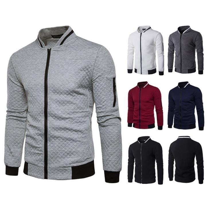 Мужская модная куртка на молнии, пальто с воротником-стойкой, Мужская Уличная ветровка, мужская клетчатая спортивная одежда, свитшот, куртк...