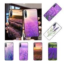 NBDRUICAI Simple lavender Purple flowers Black Soft Shell Phone Case Capa for Huawei Honor 20 10 9 8 8x 8c 9x 7c 7a  Lite view