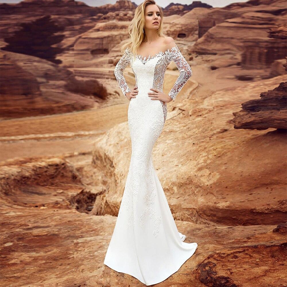 فستان زفاف حورية البحر أنيق ، ياقة على شكل قارب ، أكمام طويلة ، مثير ، تنورة قابلة للفصل ومزينة ، طول الأرض ، مجموعة جديدة 2021