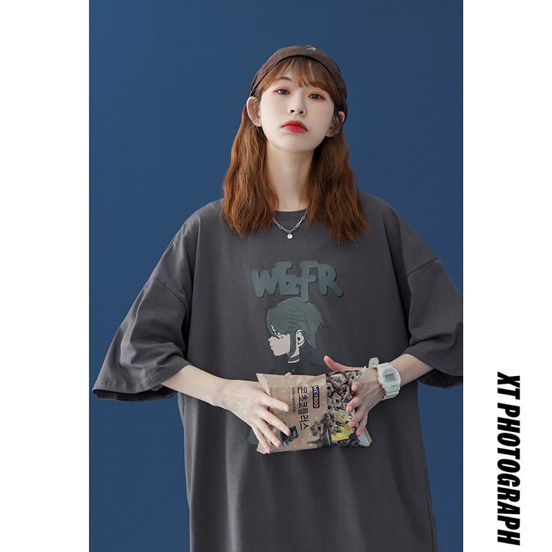 Anime Print Tees Women Cotton Short Sleeve Unisex O-Neck Tshirt Shirts New Fashion Korean Style Plus