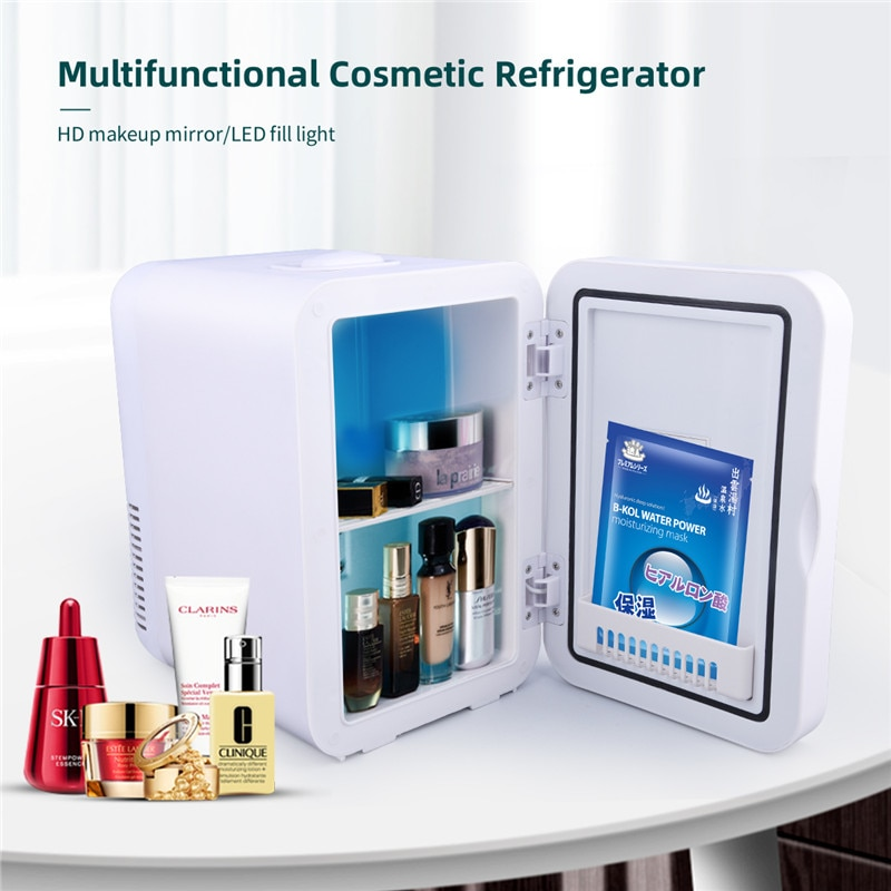 CkeyiN Mini Makeup Fridge Portable Cosmetic Mirror Refrigerator Facial Mask Skin Care Products Freezer In The Car Skincare Fride