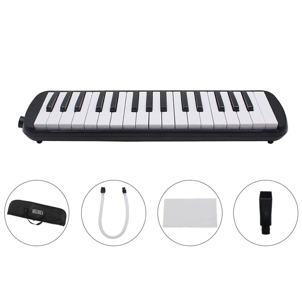 1 Juego de 32 teclas de estilo de Piano melódica con caja de órgano acordeón pieza de boca Blow Key Board 42,5*10,5*4,3 cm (negro)