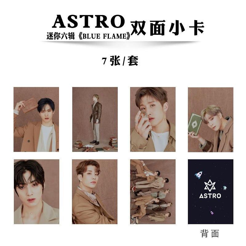 7 teile/satz Kpop ASTRO Photocard album BLAU FLAMME selbst-made doppelseitige HD foto lomo karte neuheiten kpop ASTRO großhandel