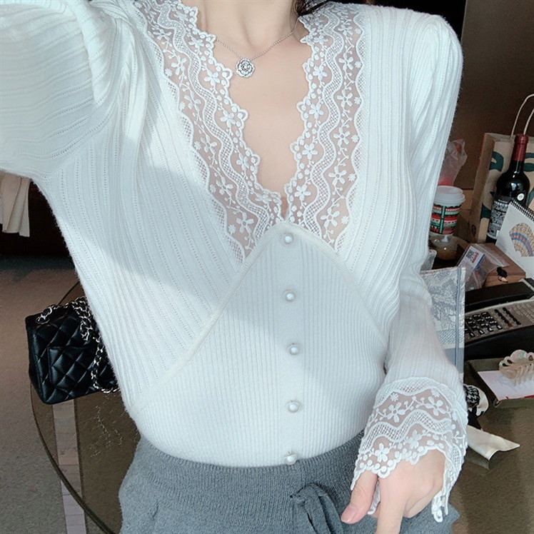 White V-neck Lace Base Shirt Female Fall and Winter Inner Wear Simple Sweater Korean-style Western S
