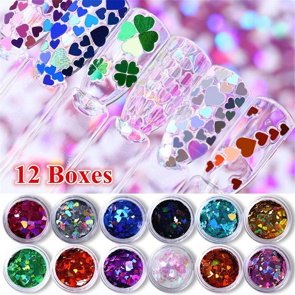 12Pcs/Set Random Mixed Color Sweet Love Heart Nail Glitter Sequins Gold/Red/Black Shine Paillettes Nail Art Decorations Manicure