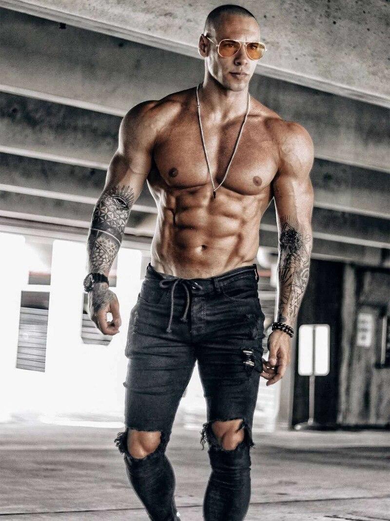 Новинка Осень 2021, мужские черные джинсовые брюки, модные рваные джинсы в стиле хип-хоп, узкие винтажные джинсы, мужские брюки