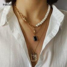 IngeSight Z Punk múltiples capas de imitación de la perla collar gargantilla Cristal de Luna collar con colgante cuadrado para la joyería de las mujeres