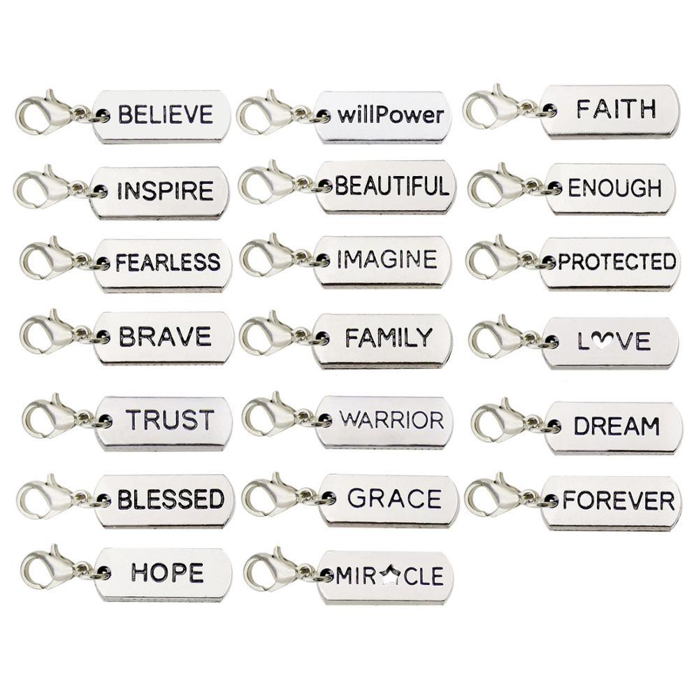 20 piezas palabras de inspiración colgantes con broche de langosta para collares de bricolaje pulseras joyería Making-M338