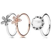 Nuevo anillo de Plata de Ley 925 Rosa deslumbrante flor Margarita elegancia eterna perla con anillo de cristal para mujeres regalo joyería fina