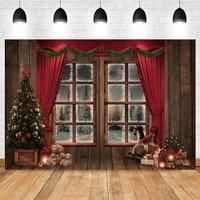 yeele christmas background gift fireplace board window red curt backdrop photography baby birthday party photo studio photophone