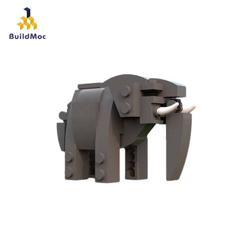 BuildMOC Series Animal Action Figures Lion Elephant MOC-12802 Building Blocks Brick Toys For Children Gift