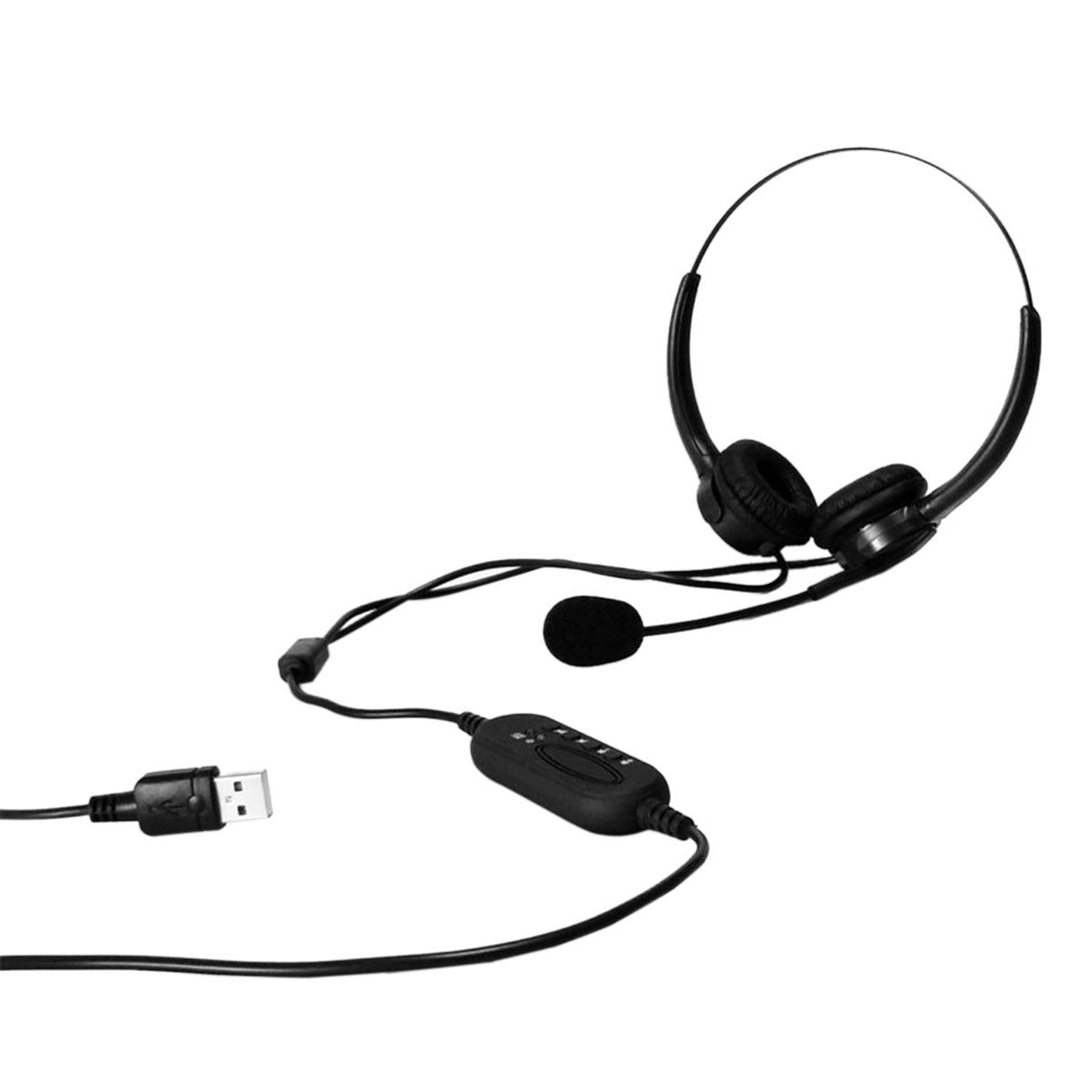 Auriculares de Teléfono manos libres, centro de llamadas, cancelación de ruido, auriculares binaurales con cable con Mini para ordenador portátil