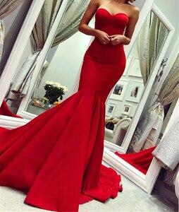 Lanvendia Women Red Satin Prom Dresses Plus Size 2020 Sexy Black Girls Mermaid Sweetheart Evening Gowns Vestido De Festa