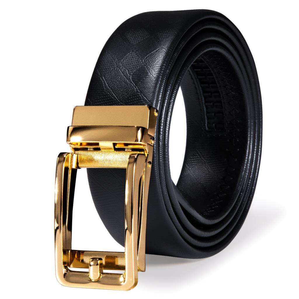 Hi-Tie 2021 Black Leather Mens Belts for Men Belt Automatic Buckles Ratchet Waistband Straps for Dress Jeans Sliding New Arrival