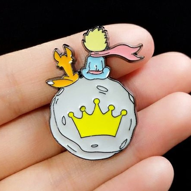 Little prince metal brooch cartoon cute fox anti-glare pin buckle men and women sweater accessories backpack decoration badge