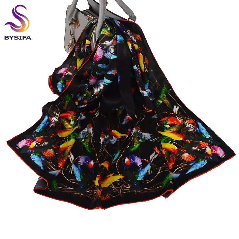 BYSIFA | أسود 100% الحرير الخالص وشاح مربع الحجاب المطبوعة النساء موضة أنيقة الأوشحة خريف شتاء الطيور تصميم الأوشحة الحجاب