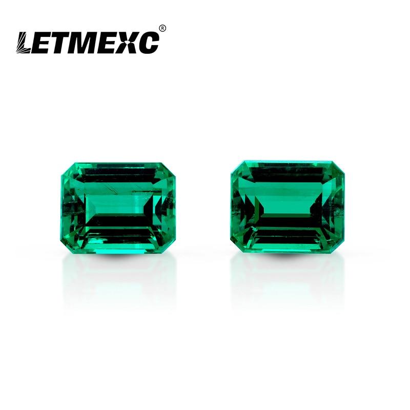 Letmexc Lab نمت كولومبيا أحجار كريمة من الزمرد VVS ممتاز الزمرد قطع عالية الجودة للحصول على مجوهرات مخصصة