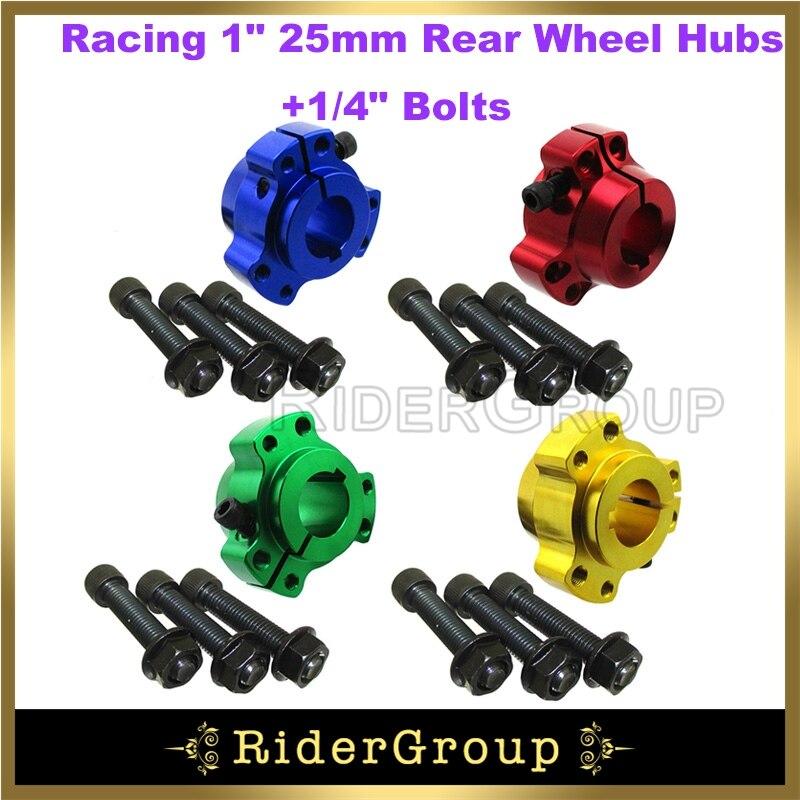 "4 colores aluminio aliged Billet Racing 1 ""25mm bujes de rueda trasera 1/4"" pernos para Go Kart Drift Trike partes"