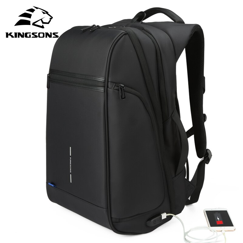 Mochila Kingsons para ordenador portátil con carga USB de 15,6 pulgadas, bolsa para ordenador portátil, mochila de viaje de negocios para hombres, mochilas escolares impermeables para niños
