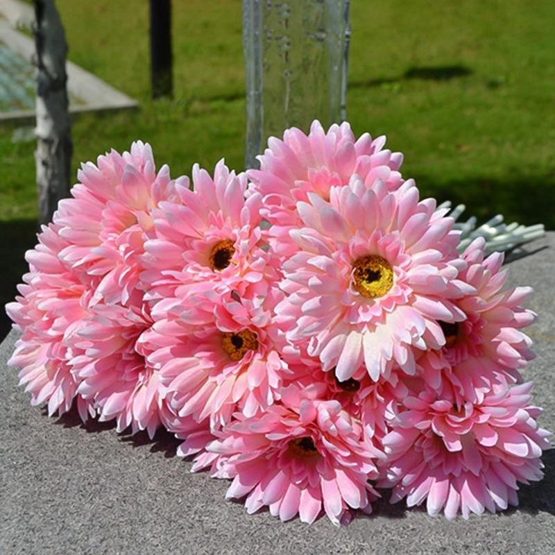 Flores artificiales prácticas Margarita falsa a granel decoración de la boda ramo de seda girasoles decoración plástico Gerbera arreglo de flores