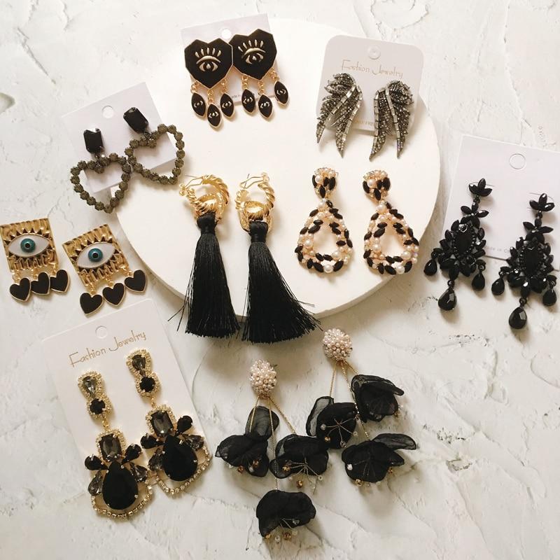 Ztech, serie negra, pendientes Vintage grandes para mujer, pendientes de declaración, Metal dorado geométricos, Pendientes colgantes, joyería de moda de tendencia