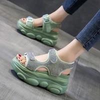 rhinestone platform sandals women fashionable 2021 summer new all matching wedge hidden heel daddy roman platform shoes