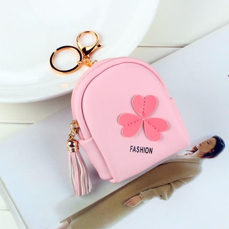 Clover Women's Coin Purse Fashion Trend Pu Material Mini Wallet Simple Cute Girl Princess Style Bank Card ID Card Bag 2021 New