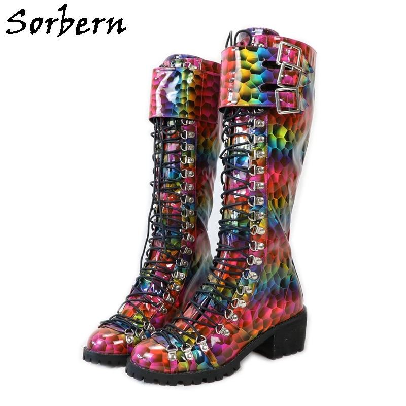 Sorbern هولو Rianbow حذاء برقبة للركبة هوف الكعوب جولة تو الدانتيل يصل الأحذية الإناث أحذية مصممين النساء الفاخرة 2020 ألوان مخصصة