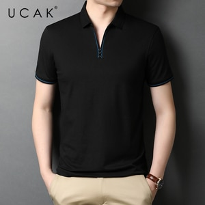 UCAK Brand Classic Solid Color Turn-down Collar Short Sleeve T-Shirts Summer New Streetwear Casual Cotton T Shirt Homme U5516