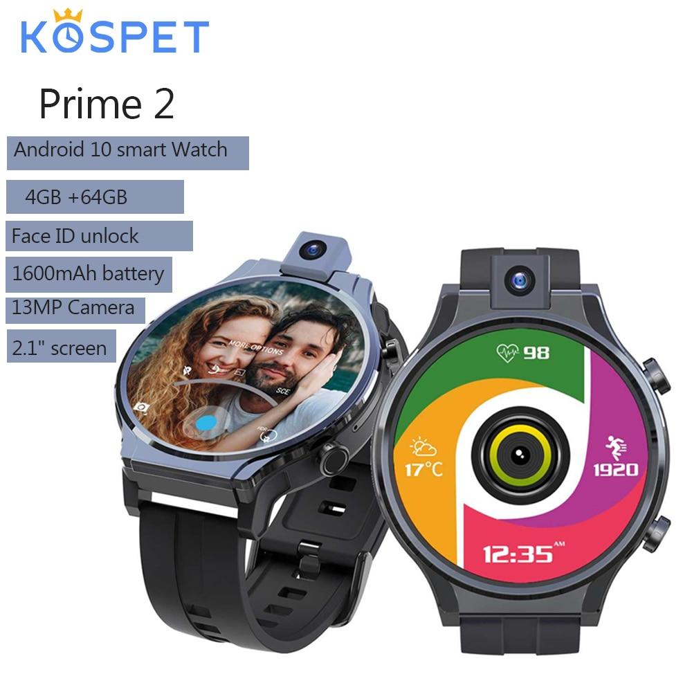 Kospet Prime 2 2.1'' 480*480px Screen 4G+64G Octa-core 4G-LTE Watch Phone 1600mAh Battery GPS+Beidou Android 10 Smart Watch 2021