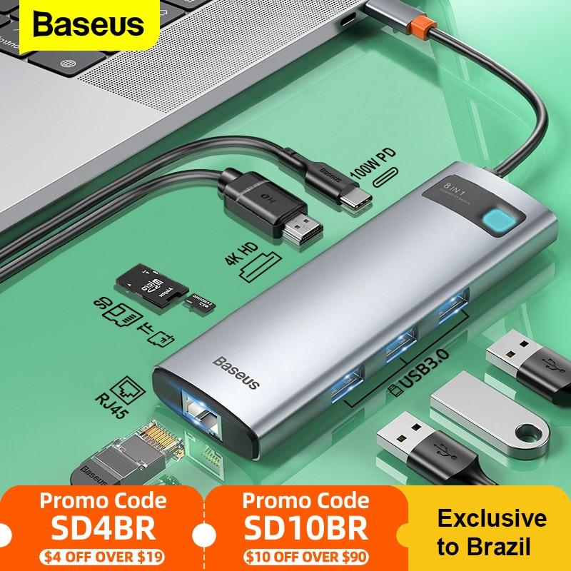 باسيوس USB نوع C HUB USB C إلى HDMI متوافق مع قارئ SD RJ45 PD 100 واط شاحن USB 3.0 HUB لماك بوك برو حوض محطة الفاصل