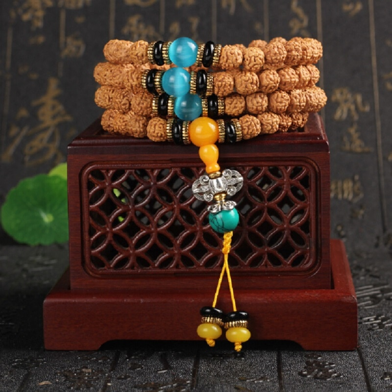 Original Design Exquisite Tibetan Dragon Grain Bodhi Seed 108 Beads Mala Bracelet with Blue Cats Eye Stone Hand String Wholesale