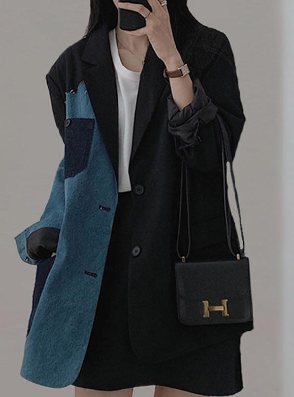 Overcoat Women High Sense Autumn Black Suit Coat Female Spring and Autumn Chic Design Sense of Leisu