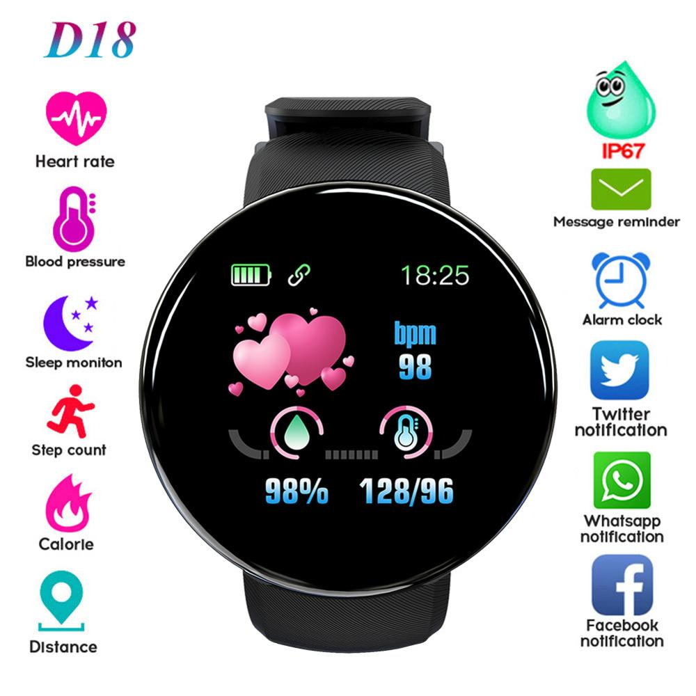 D18 Bluetooth Smart Watch Men Women Blood Pressure Smart watch Sport Tracker Pedometer Smart Watches For Android IOS
