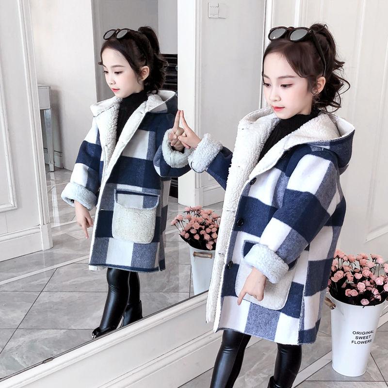 Куртка для девочек, осенне-зимняя одежда, модели средней длины для девочек, клетчатые Утепленные Пальто из шерсти ягненка, модный дизайн, Де...