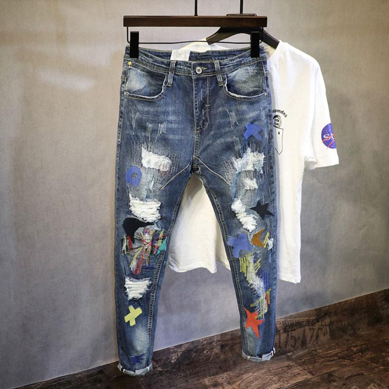 Moda De Estilo Coreano Hombres Jeans Parche Bordado Disenador De Jeans Rasgados Pantalones Lapiz Elastico Streetwear Elastico Hip Hop Para Hombres Leather Bag