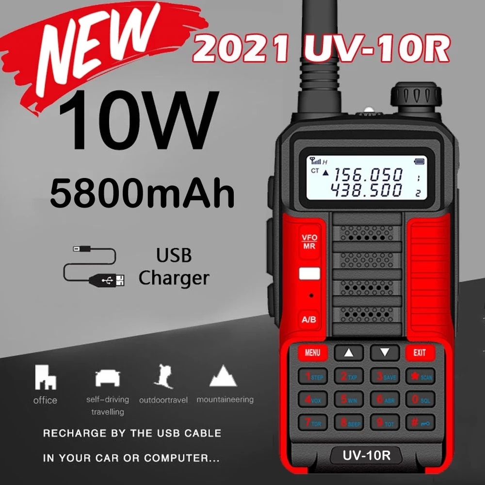 Baofeng Professional 10W Walkie Talkie UV10R 128 Channels VHF UHF Dual Band Two Way CB Ham Radio Baofeng UV5R Enhanced UV 10R